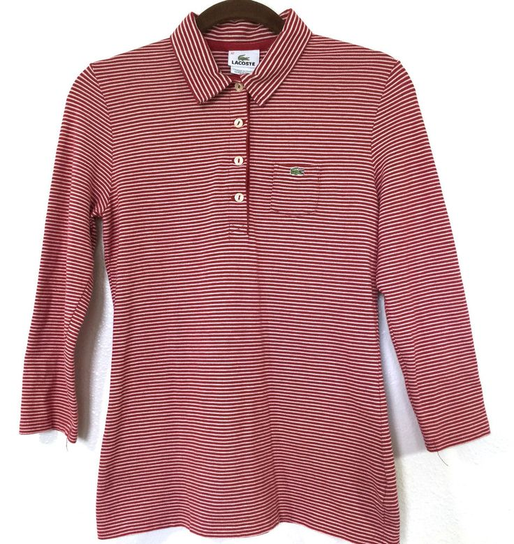 Women's LACOSTE Size 42 Red White Striped Long Sleeve Polo Shirt #Lacoste #PoloShirt