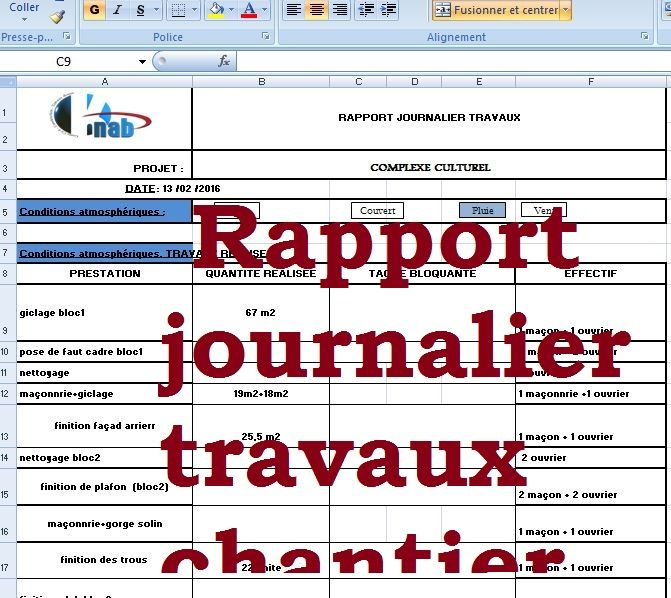 exemple de rapport journalier des travaux chantier