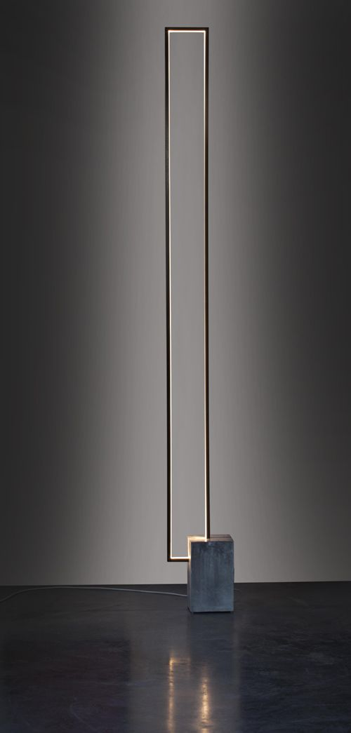 Led lighting - Cinier - LT MIRE - Floor lamp with a clear LED light strip inside a rectangular metal frame Material: Steel and stone Note: Output: approx 3800 Lumens. Energy Consumption: 60 W. Transformer included with product. Finish: Height 90-1/2. W