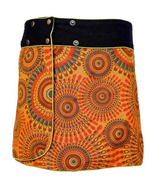 Ladies Fashion Multi color Wrap Round Hippy Popper Skirt
