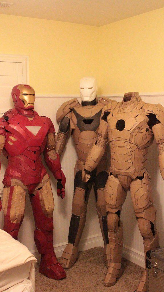 Hand-made cardboard Iron Man suits O.o