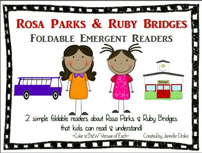 Rosa Parks & Ruby Bridges Foldable Emergent Readers ~Color & B&W Versions of Each~ from Jennifer Drake on TeachersNotebook.com (11 pages)  - It's so hard to find emergent readers about Rosa Parks & Ruby Bridges that our young students can read independently- so I created some!