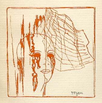 Toyen,  'A Girl Head behind Spider Web'  (1934)