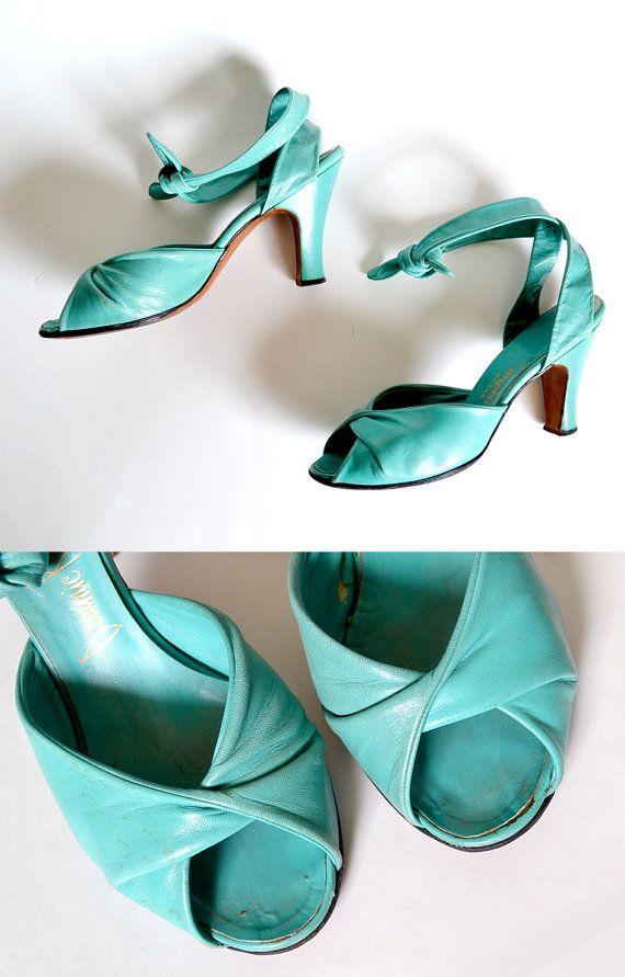 1940 women's shoes | 1940s Shoes / 40s Shoes / Turquoise Heels / Green Pumps / Green Shoe ...