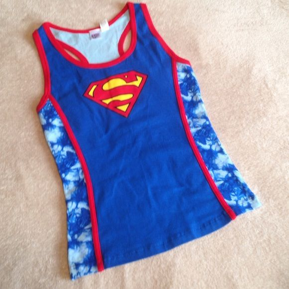 Superman tank top Superman/superwoman tank top with tie dye back and sides Supergirl Tops Tank Tops