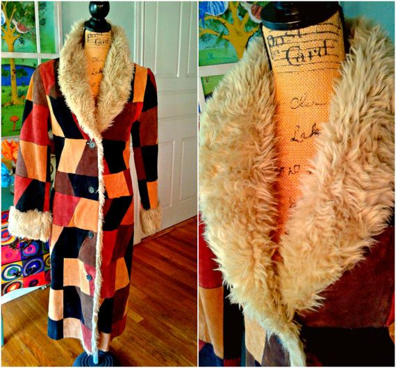 GrOoVy Patchwork Hippie Coat / 70's / Suede / by PussycatAlice