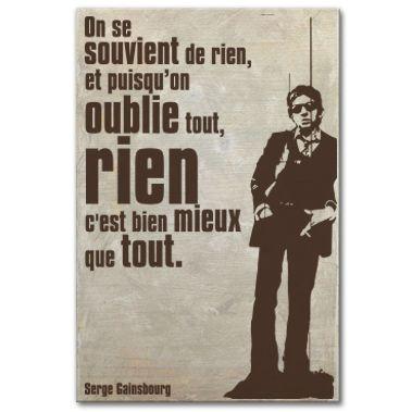 Tableau citation Serge Gainsbourg - on se souvient