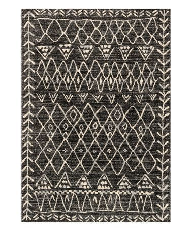 Another great find on #zulily! Black & Ivory Geometric Rug #zulilyfinds