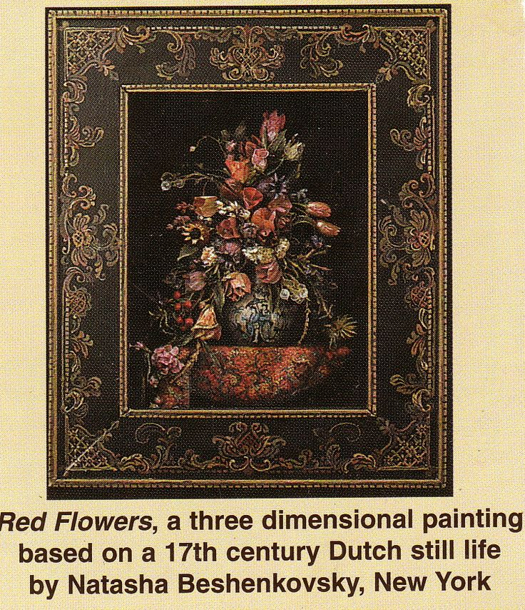 "Miniature shadowbox ""Still-Life with Red Flowers"" Preserved and painted plant material, painted wood. The frame is also handpainted by the artist. Image size approx. 3.5 in. x 2.5 in."