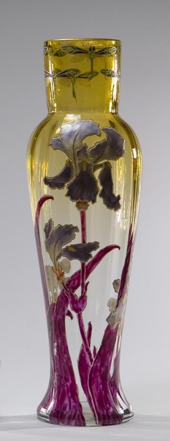 Mt. Joye Aesthetic Movement Hand-Painted Enamel Irises Crystal Vase ca. 1880's