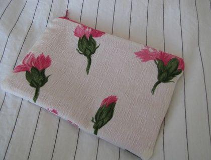 retro barkcloth zippered purse/pouch