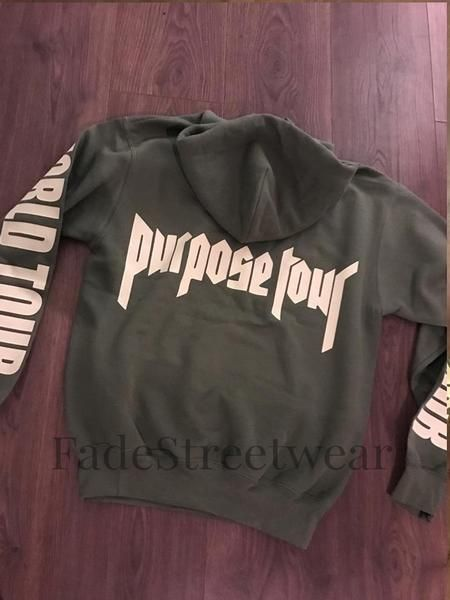 Bieber Khaki Green Purpose Tour - Hoodie – Fade Street Wear