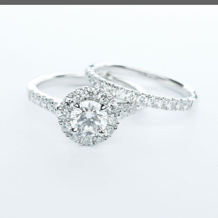 Elegant Beautiful custom made engagement and wedding ring set larsenjewellery au