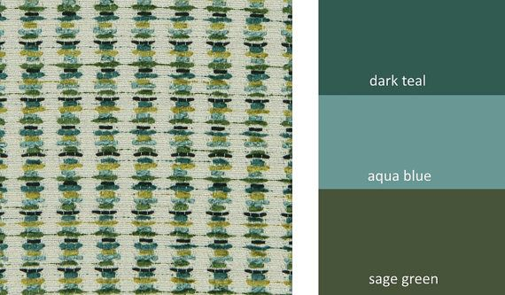 Dark Teal Upholstery Fabric Textured Teal Gold Stripe Fabric