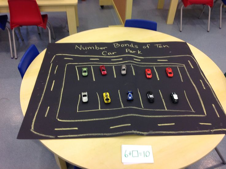 Reception - Number Bond car park to help children with their addition but in a physical appealing way.