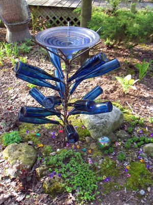 Bird Bath Bottle Tree...there Are Those Beautiful Cobalt Blue Bottles Again!