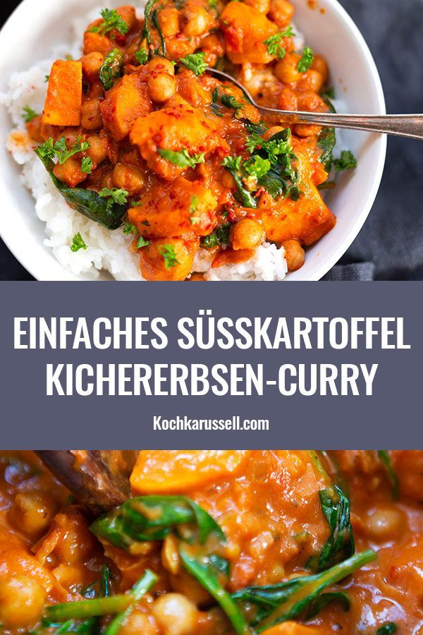 Süßkartoffel-Kichererbsen-Curry mit Spinat
