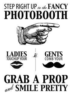 make this sign for where the photo props are!! Need folding chairs and box for props(mustaches, lips, glasses, etc in prev pin, a gold tablecloth for backdrop tacked up on the wall!