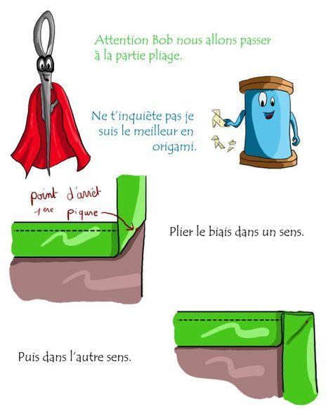 Montage d'un biais dans un angle. Tuto en dessins et en français.