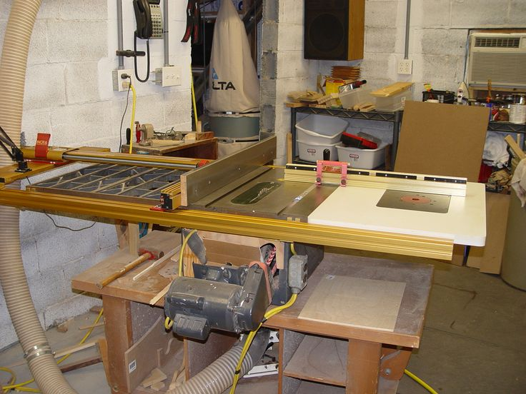 The beginning of all projects.  An old Craftsman contractor saw.  Built into a moveable table.  Moved both wings to the right, and added a router drop in table to the left.  Added Incra LS-3 fence system and an Incra Miter-3000 miter gauge.  rewired the motor to run on 240.  Build a down draft collector into the bottom of the cabinet.  Not the top of the line, but It is accurate to 1/1000""