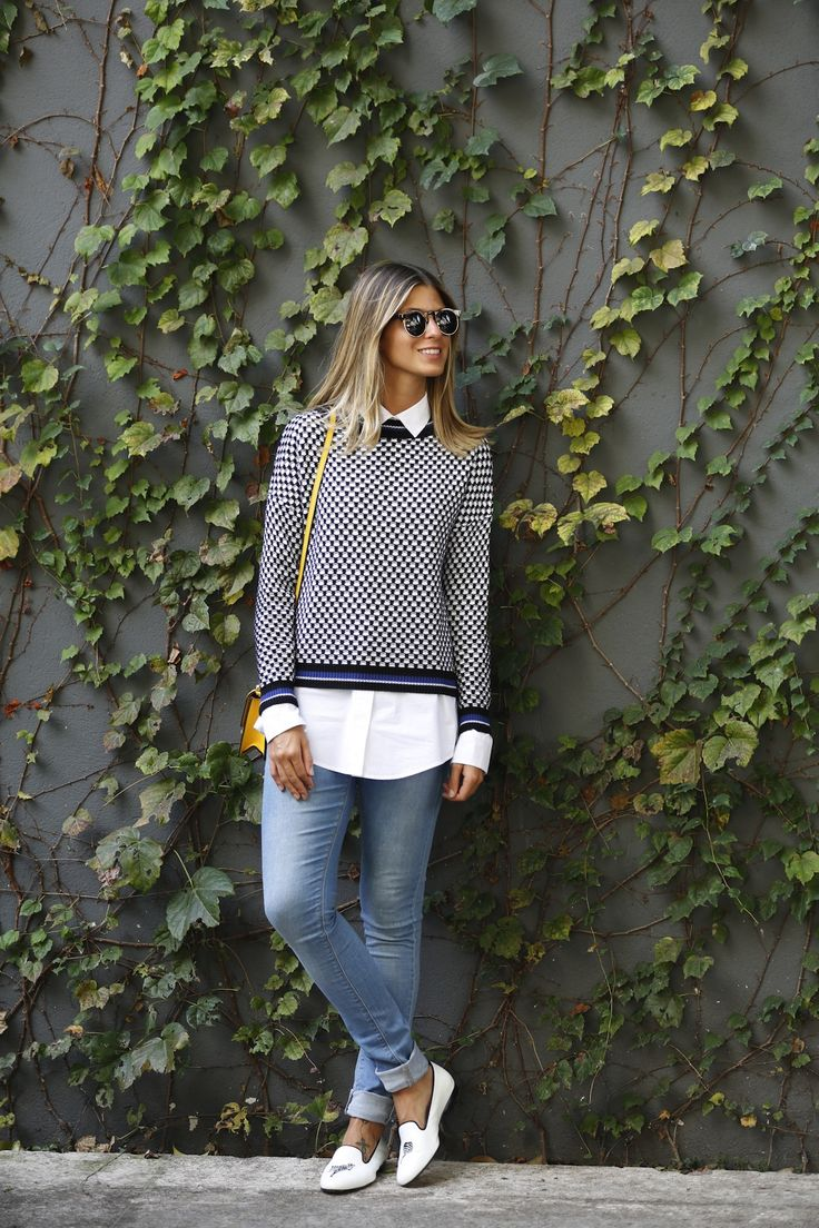 jeans, sapatilha, camisa e malha. Adorei esta produção confortável e estilosa da blogueira Anna Fasano
