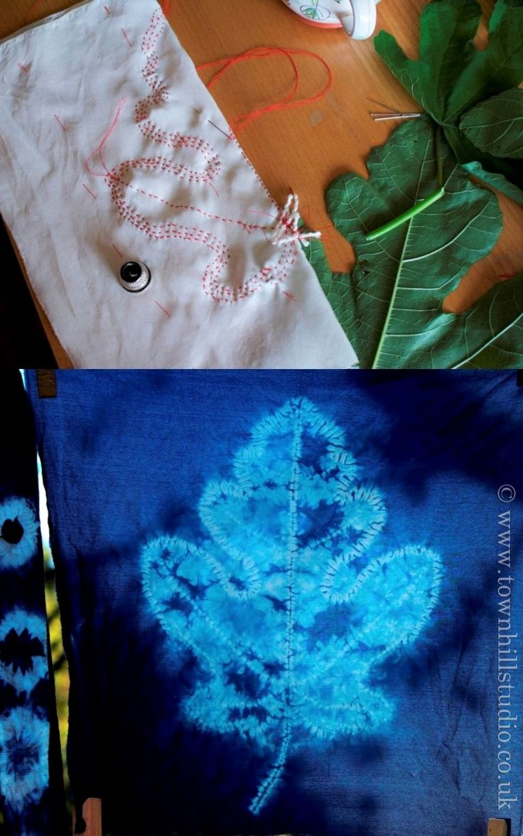 Beautiful fig leaf shibori pattern on silk created on a workshop run by Townhill Studio. Mainly ori nui stitching through the two layers of silk.