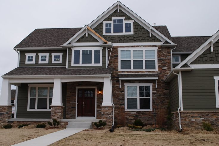 Vinyl Siding And Stone Combination We Like The Dark Gray On This Post Home Brick House