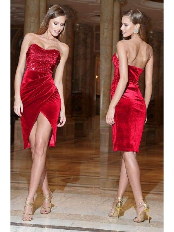 Rochie de ocazie din catifea rosie cu paiete pe bust Artista