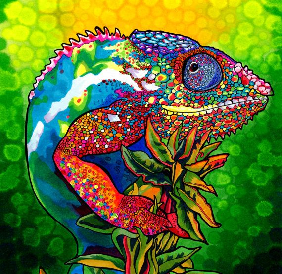 Capricious Chameleon ORIGINAL (Colorful Psychedelic Trippy Rainbow Panther Chameleon Drawing in Copic Marker) via Etsy