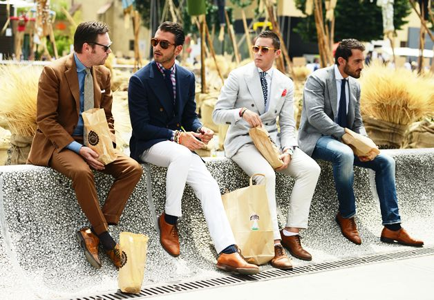 Tommy Ton's Street Style: Pitti Uomo: Style: GQLunches Breaking, Dapper But, Navy Blazers, Street Style, Men Style, Menstyle, White Pants, Men Fashion, Tommy Ton