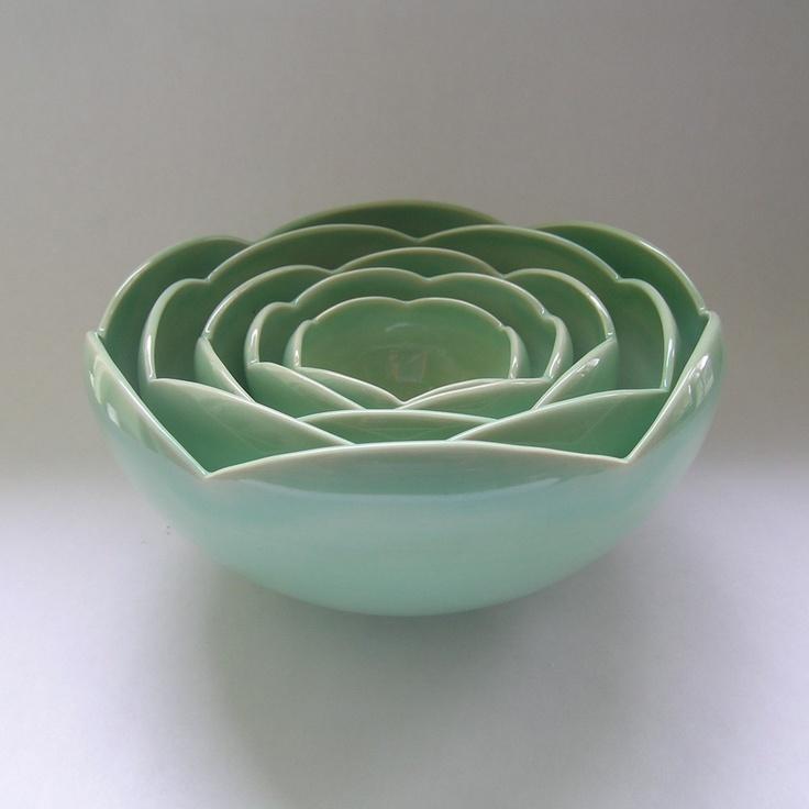 Five Nesting Ranunculus Rose Flower Ceramic Bowls in Green. $225.00, via Etsy.