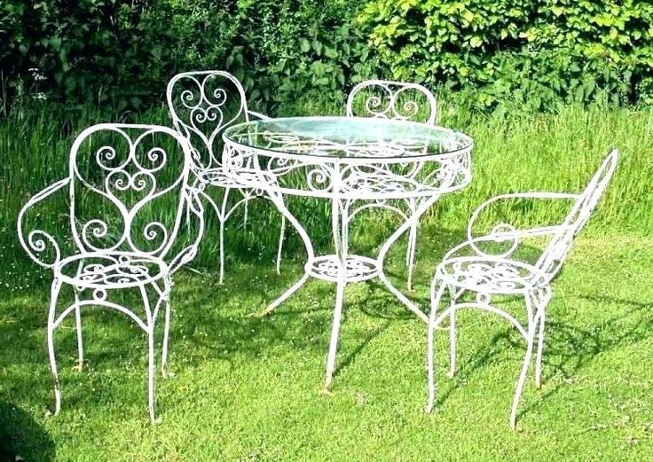 Vintage Meadowcraft Wrought Iron Patio, White Wrought Iron Outdoor Furniture