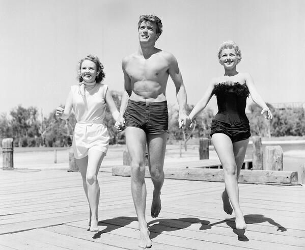 Clint Eastwood with actresses Olive Sturgess and Dani Crayne in San Francisco - 1954