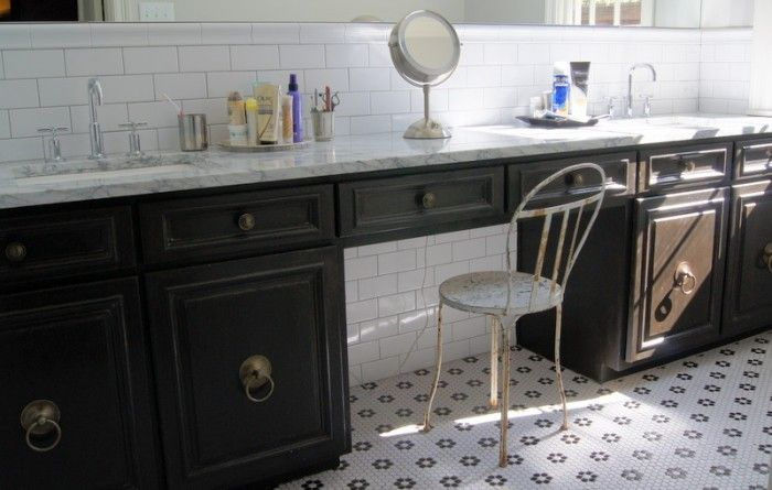 our bathroom vanity, done in layers of chalk paint and milk paint.