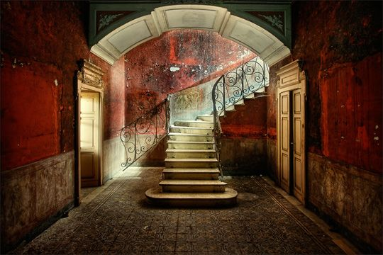 There's something mysterious about a ruined staircase... like it could lead to something very beautiful or very frightening. #stairs #urbandecay