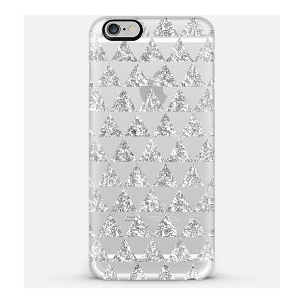 Casetify iPhone 6 Plus/6/5/5s/5c Case - Glitter Triangles in Silver -... ($40) ❤ liked on Polyvore featuring accessories and tech accessories