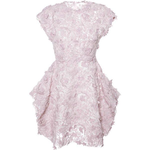 Giambattista Valli Brushed Floral Macrame Dress With Petal Skirt