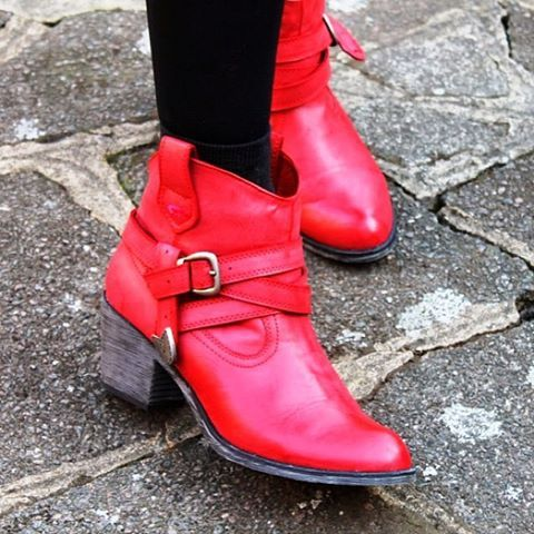 Our red Satire boots, as modelled by fashion blogger The Fashion Detective.  #rocketdog