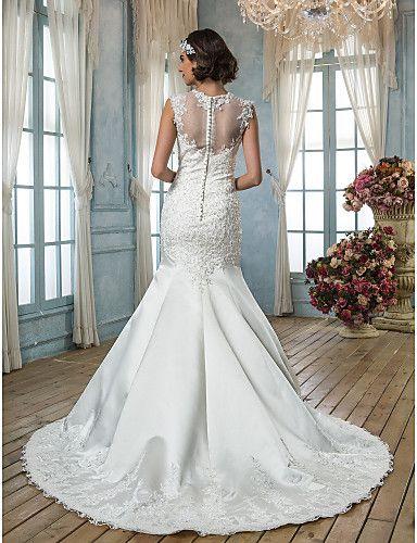 judiciais jóia trompete / sereia trem apliques de cetim vestido de noiva - BRL R$ 427,32