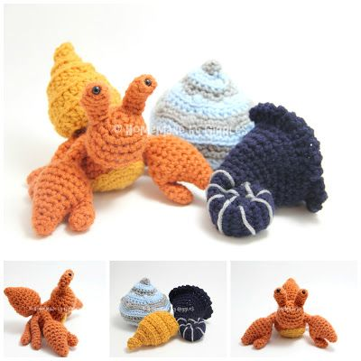Hermit Crab with Removable Shells.  FREE crochet pattern by Homemade by Giggles.  Includes crab pattern and 3 different shells (spiral, conch, snail).  Great toy for kids.