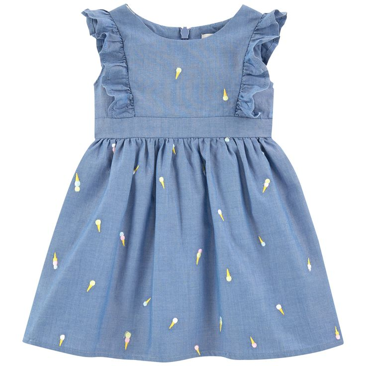 Cotton chambray Fine cotton lining Hourglass cut Pleats under the waistband Very flared bottom Crew neck Sleeveless Flounces on the shoulders Invisible zipper at the back Embroideries   Small logo patch on the heels - ss16