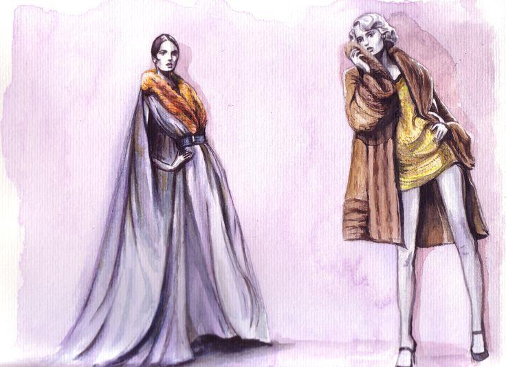 Figurin moda. Acuarela