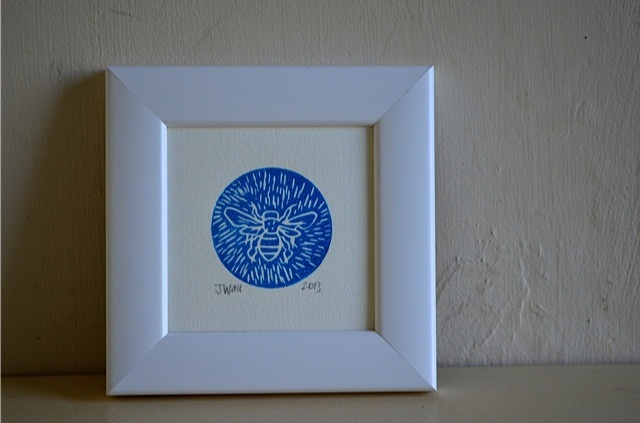 Bee Linocut, blue by hectorandhaddock | Hector and HaddockLetterpresses Cards, Bees Linocut, Living Room