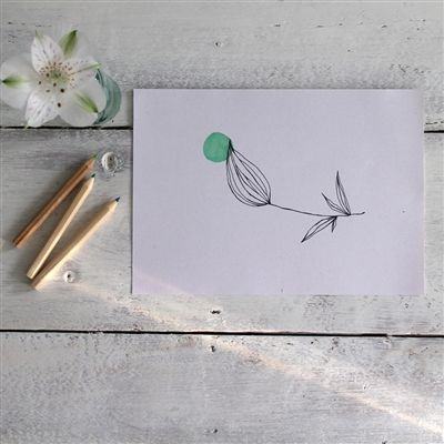 With its green dot and flower bud design, this hand-pulled screen print from mi+ed design in Milan, is at once both beautifully simple and full of promise.  It is printed by the artist in her studio using non-toxic water-based colours on a lovely recycled paper containing seaweed from Venice.