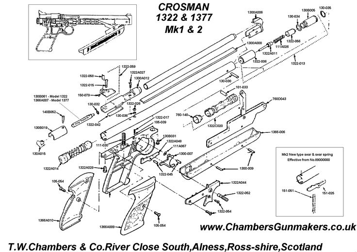 crosman 1322  u0026 1377 pump pneumatic pistol diagram
