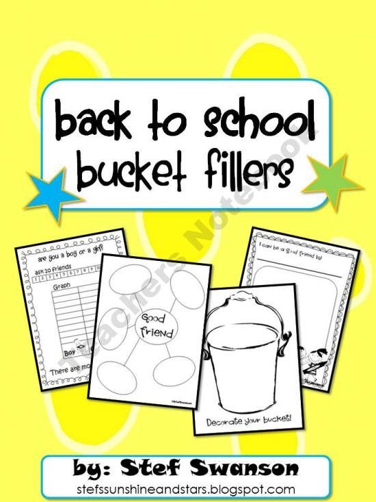 Back to School {Bucket Fillers} product from Sunshine-and-Stars on TeachersNotebook.com- free