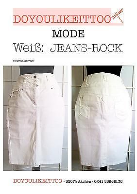 Weisser-Jeans-Rock-Stretch-Baumwolle-Groesse-36-Pencil-knielang