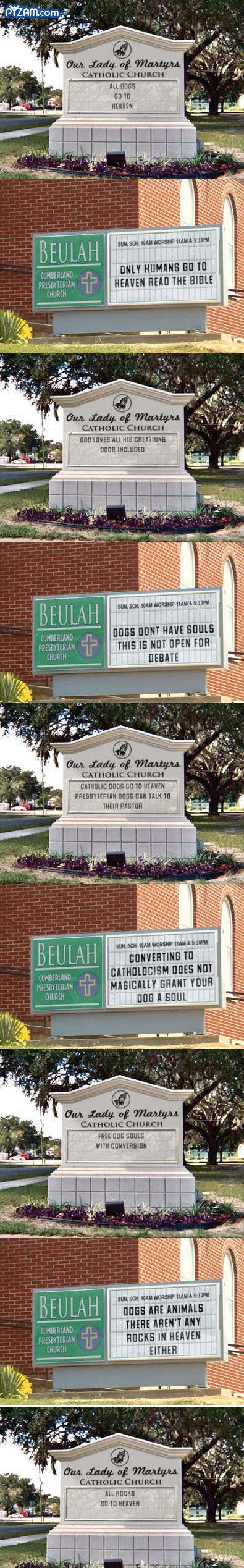 Church Wars...too funny: Make Me Laughing, Dogs, Church Signs, Too Funny, Catholic Church, So Funny, Rocks, Church Humor, Heavens
