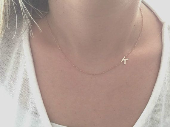 14k gold sideways initial necklace