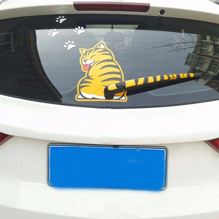 2017 de Bande Dessinée Créative Drôle Chat Décoration Tail Déménagement Autocollants Auto Véhicule Fenêtre D'essuie-Glace Stickers Voiture À L'extérieur Styling Décoration